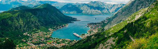 Bay of Kotor from the heights. View from Mount Lovcen to the bay. View down from the observation platform on the mountain Lovcen. Mountains and bay in stock images