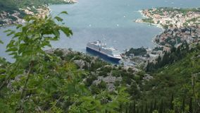 Bay of Kotor from the heights. View from Mount Lovcen to the bay stock video footage