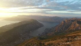 Bay of Kotor from the heights. View from Mount Lovcen to the bay stock video