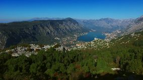 Bay of Kotor from the heights. View from Mount Lovcen to the bay stock footage
