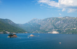 Bay of Kotor landscape with small islands Royalty Free Stock Photography