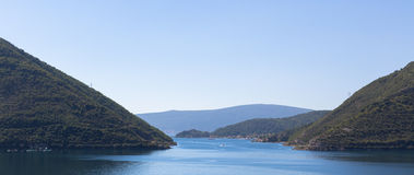 Bay of Kotor. Landscape view of Kotor bay in the midday, Montenegro Stock Images