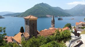 Bay of Kotor in Montenegro - Boka Kotorska - view from Perast town to islands and green hills stock photography