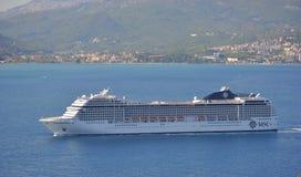 Cruise ship MSC Musica. BAY OF KOTOR, MONTENEGRO – SEPTEMBER 16, 2017: Cruise ship MSC Musica floats from the Kotor Bay royalty free stock images