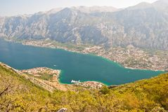 The Bay of Kotor. Montenegro, view from the mountains Stock Images