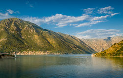 Bay of Kotor mountain range landscape Stock Photography