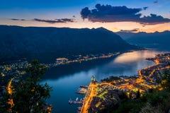 Bay of Kotor night panorama Royalty Free Stock Photo