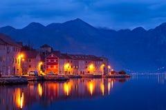 Bay of Kotor at night. Stock Photo