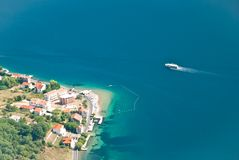 The Bay of Kotor. A passenger ship in the Bay of Kotor in Montenegro Stock Photography