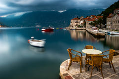 Bay of Kotor in Perast, Montenegro. Perast, an old Baroque town in Montenegro, lies at the foothills of St. Elijah on a cape that separates the Bay of Risano Stock Images