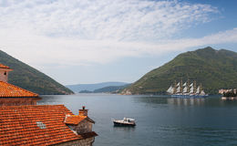 Bay of Kotor, roofs of old town and ship Stock Images
