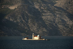 Bay of Kotor. Small Church on island Our Lady of the Rocks Royalty Free Stock Image