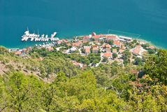 The Bay of Kotor. A small marina in the Bay of Kotor in Montenegro Stock Photography