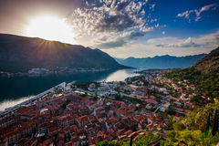 Bay of Kotor. Southern Europe's deepest fjord, Kotor bay, Montenegro. City Kotor in Kotor Bay, Montenegro. Seen from path to fortress above city Stock Photography