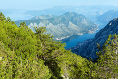 Bay of Kotor summer misty view from up  (Montenegro) Stock Image
