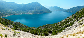 Bay of Kotor summer panorama,  Montenegro Royalty Free Stock Image