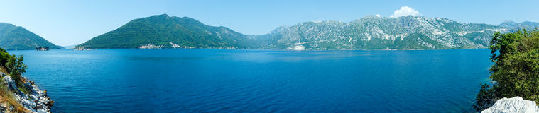 Bay of Kotor summer panorama with two islets, Montenegro Stock Photos