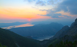 Bay of Kotor at sunset, Montenegro Stock Photo