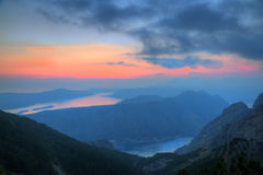 Bay of Kotor at sunset, Montenegro Royalty Free Stock Images