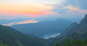Bay of Kotor at sunset, Montenegro Stock Photography