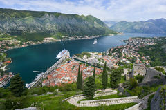 The Bay of Kotor. View of the Bay of Kotor and Kotor city from the wall of fortress Stock Images