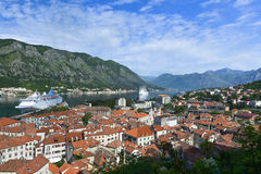 The Bay of Kotor. View of the Bay of Kotor and Kotor city from the wall of fortress Royalty Free Stock Photos