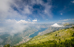 The bay of Kotor view from Lovcen national park Royalty Free Stock Photos