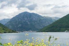 Bay of Kotor. View from the road. Mountains and bay in Montenegro. Scenic Landscape with a big lake and mountain with clouds and. Green forest, sea, adriatic royalty free stock photos