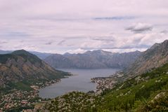 Bay of Kotor - Bird`s View. Bay of Kotor. Walking the serpentine road up towards the mausoleum of Njegos, Lovcen. Cloudy day, but amazing view Stock Photography