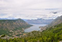 Bay of Kotor - Bird`s View. Bay of Kotor. Walking the serpentine road up towards the mausoleum of Njegos, Lovcen. Cloudy day, but amazing view Royalty Free Stock Images