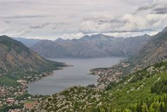 Bay of Kotor - Bird`s View. Bay of Kotor. Walking the serpentine road up towards the mausoleum of Njegos, Lovcen. Cloudy day, but still an amazing view Royalty Free Stock Photography