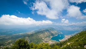 The Bay of Kotor wide angle landscape Royalty Free Stock Photo