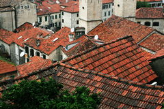 The Bay of Kotor is a wonderful natural Bay in Montenegro. The shingles on the roofs of the Old town on the Bay of Kotor in Montenegro Stock Photos