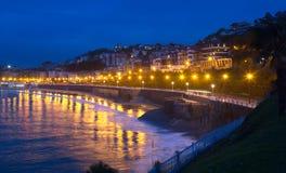 Bay of La Concha in  autumn evening at San Sebastian Stock Image