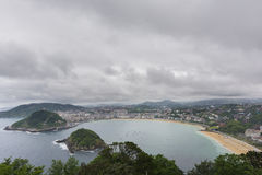 Bay of la Concha in San Sebastian, Spain Stock Photos