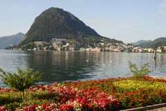 The bay of lake Lugano Stock Image