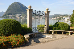 The bay of lake Lugano Stock Photos