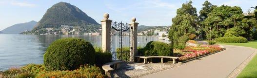 The bay of lake Lugano Stock Photos