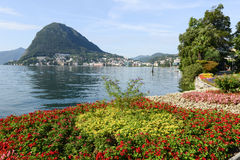 The bay of lake Lugano Royalty Free Stock Photo