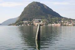 The bay of lake Lugano Stock Photo