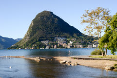 The bay of lake Lugano on Switzerland Stock Images