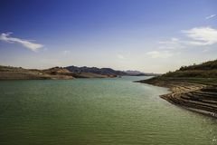 A bay of the Lake Mead Nevada stock image
