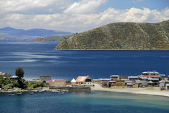 Bay of Lake Titicaca as seen from Isla del Sol. Cha'llapampa and Lake Titicaca and Isla as seen from Isla del Sol Royalty Free Stock Photo