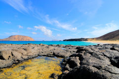 Bay Las Conchas, Graciosa, Canaries. Bay Las Conchas; northern part of Island Graciosa, a small volcanic island laying North from Lazarote, one of the bigger Royalty Free Stock Photos