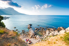 Bay of Laspi. Crimea. Camping on the Black Sea. Bay of Laspi. Crimea stock photo