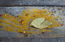 Bay leaf  on grunge background Royalty Free Stock Image