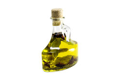 Bay leaf oil. Bay leaves in olive oil contained in a glass bottle isolated against a white background Stock Images