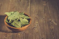 bay leaf in a wooden bowl/bay leaf in a wooden bowl on a wooden background. Copy space stock photo