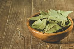 Bay leaf in a wooden plate/bay leaf in a wooden plate on a wooden background royalty free stock photos