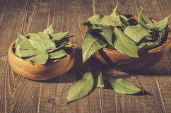 Bay leaf on a wooden surface in a two wooden bowl/spices of bay leaf in rural style on a wooden surface. selective focus stock image